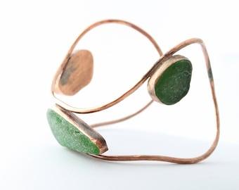 Adjustable Copper Sea Glass Cuff, Sea Glass Bangle, Sea Glass Cuff, Seaglass Bangle, Beach Glass Cuff, Sea Glass Bracelet,