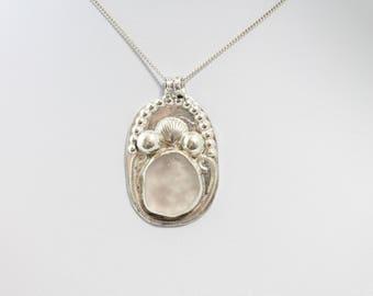 Sterling Silver Sea Glass Necklace, Sea glass necklace, Beach glass necklace, Sea glass jewelry, Beach glass jewelry, Sea glass pendant,
