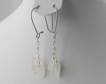 Silver Sea Glass Earrings, Authentic Sea Glass Earrings, Genuine Beach Glass Earrings, Beach Glass Dangle Earrings