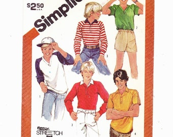 Simplicity 6054 Sizes 7-8-10 Boys Set Of Pullover Tops- A Time Saver Stretch-Knit Pattern UNCUT