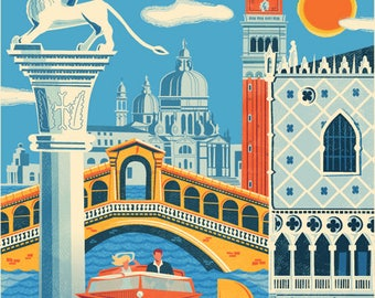 Venice poster, Venice wall art, Venice art print, Poster, Venice print, Venice skyline, Italy art, Wall decor, Gift, Home decor