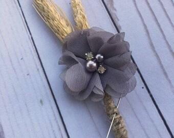 Gray Boutonniere, Gray Chiffon Flower Boutonniere, Gray Rustic Boutonniere, Gray and Wheat Boutonniere