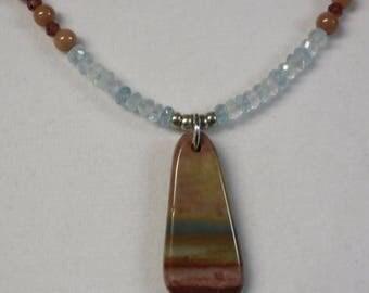 Necklace Beaded Aquamarine Garnet Marble with Jasper Pendant