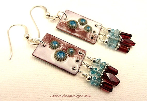 Artisan Handcrafted Enamel Charms, Garnet and Apatite Earrings