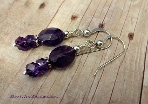 Amethyst Faceted Oval Earrings, February Birthstone