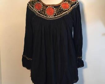 Vintage 70s Black Embroidered Blouse