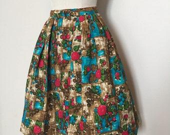 Vintage 50s Barkcloth Full Skirt