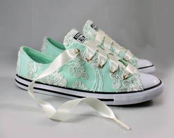 Ivory Lace Converses Mint Foam --Bridal Converses Mint Foam-- Mint Foam Wedding Tennis shoes  -Ivory Wedding Converse-- Custom Converses