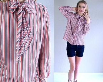 vtg 60s ASCOT Red Blue Striped SECRETARY BLOUSE Large neck tie Americana top mod indie retro dolly shirt