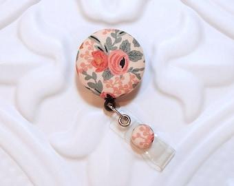 Floral Retractable Badge Holder - Nurse Badge Reel - Flower Id Holder - Badge Lanyard - Id Badge Holder - Name Badge Holder