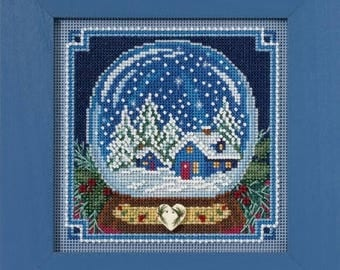NEW Snow Globe cross stitch kit INCLUDES button beads by Mill Hill at thecottageneedle.com December Christmas