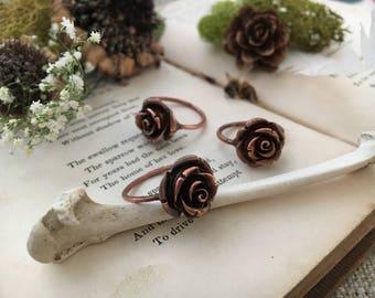 Size 7 - Romantic Rose Electroformed Copper Gypsy Boho Handmade midi Ring