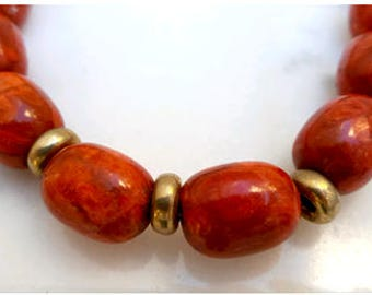 Handmade  golden silver necklace with coral-00088