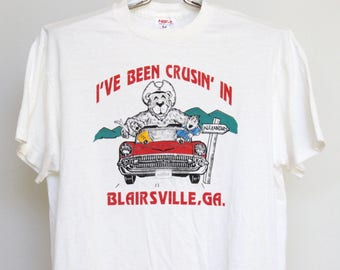 Blairsville Georgia T Shirt Mens Large Unisex Womens Short Boxy Vintage Soft thin 50 50 Cruisin' Crusing Auto Automobile Car Bear Tee Jay
