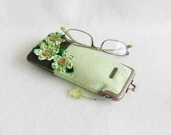 Beautiful Green Glasses Case, Eyeglass Case, Spectacle Case, Metal Frame Purse