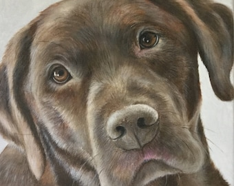 12x12 custom pet portrait on canvas from photo acrylic original chocolate labrador retriever dog gift