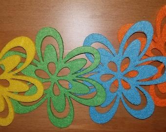 Felt Flowers - Bright Colors - Set of 4