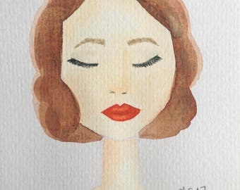 Woman Watercolor 4x6 Print in Frame