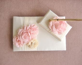 SALE! Wedding Guest Book and Pen Set, Guestbook -  Champagne and Blush Blossom Ivory  CUSTOM COLORS  too