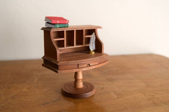 Vintage Wood Reevesline Dollhouse Desk - Miniatures, Faeries, Tiny Treasures