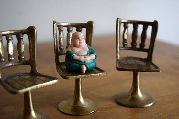 Three Vintage Brass Dollhouse Chairs - Miniatures, Mid Centruy, Boho