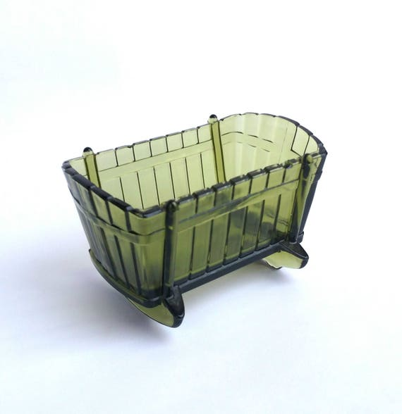 Vintage 1960's Green Glass Bassinet Cradle Bowl by Indiana Glass Company
