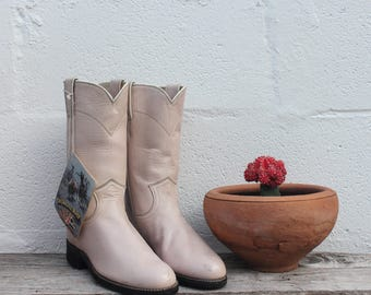 4.5 B | Women's Pale Pink Justin Pull On Ropers NOS
