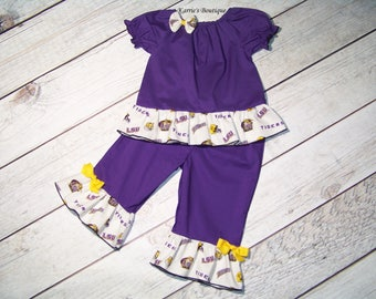 LSU Ruffle Outfit / Shirt + Pants / Purple & Gold / Geaux Tigers / Football / Sports / Newborn / Infant / Baby / Girl / Toddler/ Boutique