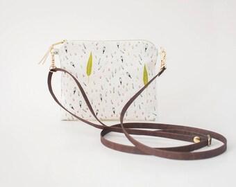 Crossbody Bag, Flat Shoulderbag, Cross Body Purse, Leaf Shoulder Bag, Organic Cotton Purse, Small Fabric Bag, Adjustable Vegan Cork Strap