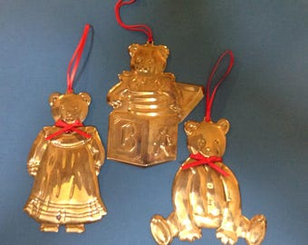 Department 56 3 Bears Brass Christmas Ornaments