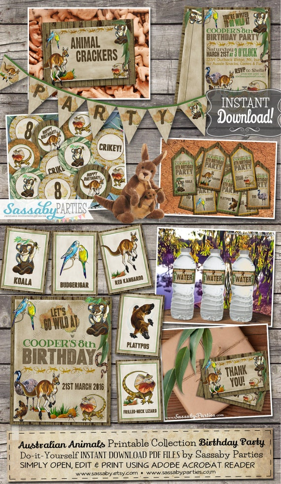 Australian animals party collection instant download birthday il570xn solutioingenieria Image collections