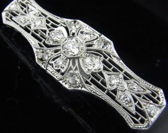 c1920s Art Deco 1.8ct Old European &Mine Cut Diamond Platinum Brooch Pin Antique LAYAWAY Available