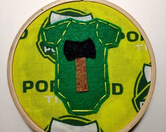 """4"""" Timbers Onesie Baby's First Christmas Embroidery Hoop Ornament"""