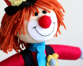 Clown Soft Toy, Rag Doll, Cloth Doll, Clown Doll, Fabric Doll