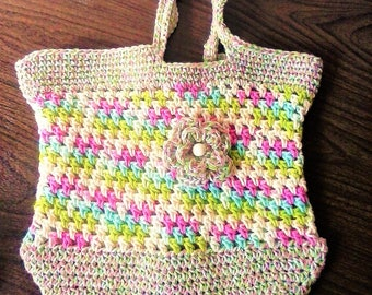 Summer Outdoors Market Bag - Beach Tote Bag - Spring Multi with Flower - Eco Friendly 100% Cotton Crochet