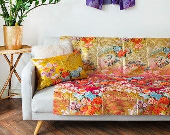 Silk Bridal Kimono Throw, Hippie Boho Bedding, Coverlet, End Bed Blanket, 12th Anniversary Gift, Unique Wedding Gift Vintage Floral Gold ART