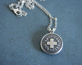 American Red Cross Necklace Emergency medical first aid disaster relief - available in silver or red/black