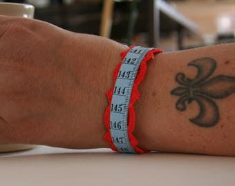 Measuring Tape Bracelet Seamstress Vintage Lace Blue and Red - made with vintage measuring tape