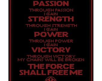 Sith Code Cross Stitch Pattern
