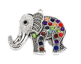 Elephant Charms -1pcs Oxidized Silver Rhinestone Elephant Pendant  43x51mm