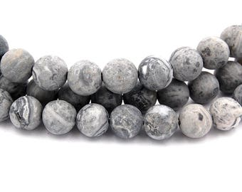 Matte Picasso Stone, Gray 10mm smooth round -15 inch strand