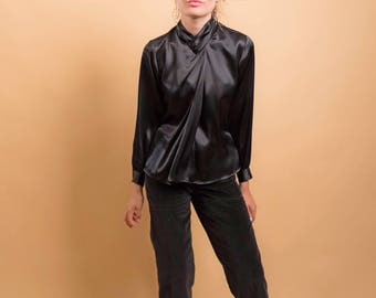 Black Satin Blouse / Vintage 80s Blouse / Secretary Blouse / Pleated Blouse Δ size: XS/S