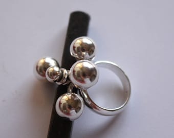 Modernist Sterling silver Ring with Mechanical Spheres Size 6 3/4- Free U.S Shipping