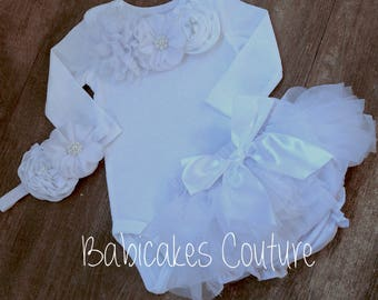 Newborn Girl After Christening Outfit, Christening Bodysuit, Bloomer & Beanie with Rhinestone Cross, Baptism Outfit, Baby Blessing Outfit