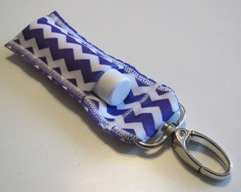 Purple Chapstick Holder, Chevron Lip Balm Holder, Chapstick Lanyard, Chapstick Holder, Key Chain Chapstick Holder, Backpack Chapstick Holder