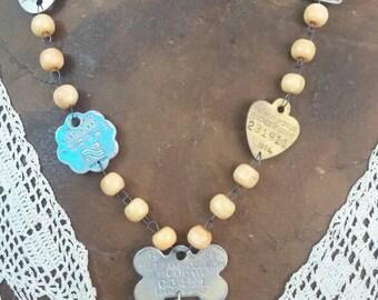 DOG LICENSE vintage antique assemblage necklace