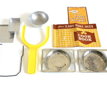 Easy Bake Oven Cake Pans, Instruction Manual Cookbook, Replacement Parts 1960s 1970s Kenner EasyBake Oven Pan