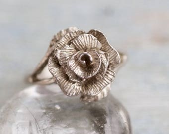Silver Flower Ring - Sterling silver Rose Ring - size 7.5