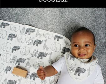 SECONDS - Baby blanket - monochrome baby - swaddle blanket - stroller blanket - new baby gift - baby boy blanket - baby girl blanket
