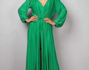 Green Jumpsuit, Milo green Jumper Maxi Dress, Long sleeve jumper : Chic & Casual Collection